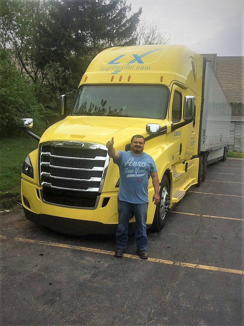 Yellow Truck Happy Driver paid per hour tracktor trailer old logiflex logo