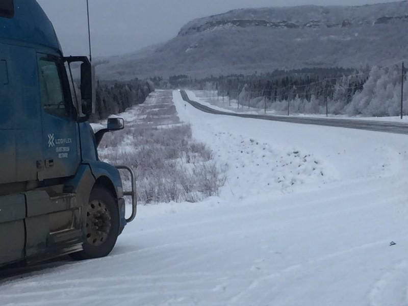 logiflex highway snow road january alaska trucking